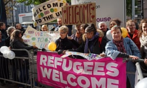 Croydon residents welcoming child refugees arriving at Lunar House from Calais last year.