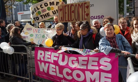 Croydon residents welcoming child refugees arriving at Lunar House in 2016.