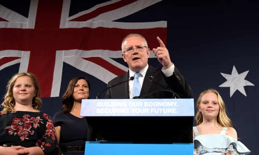 Scott Morrison, flanked by his wife Jenny and daughters Lily and Abbey, delivers his victory speech after the 2019 Australian election on 18 May