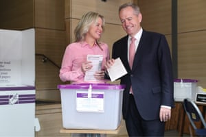 Bill and Chloe Shorten vote at the Moonee Ponds West primary school in his Maribyrnong electorate in Melbourne.