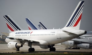 Air France planes on the tarmac of Charles de Gaulle airport near Paris.