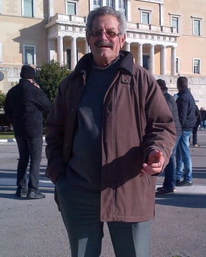 Farmer Dimitris Costopoulos in front of the Greek parliament in Athens.