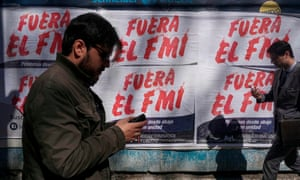 Anti-IMF posters on the streets of Buenos Aires.