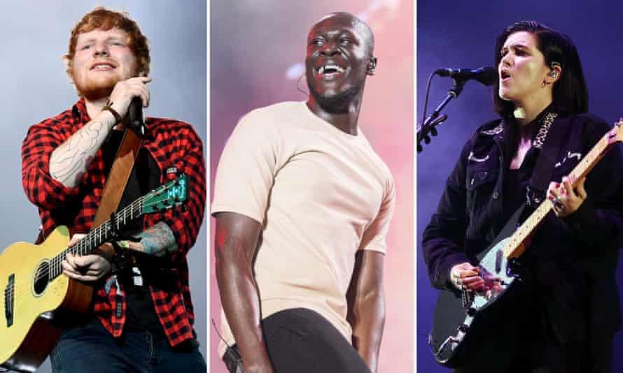 Ed Sheeran, Stormzy, and Romy Madley-Croft of the xx