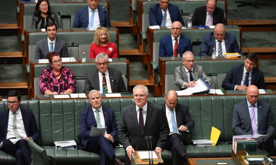 Prime minister Scott Morrison speaks in parliament