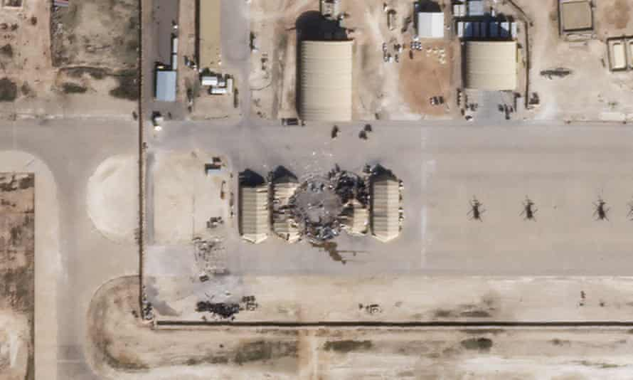 Damaged and destroyed buildings at al Asad air base in Iraq following Iranian missile strikes.