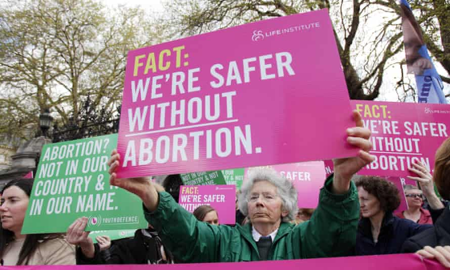 Members of the pro-life groups, Youth Defence and the Life Institute hold a picket outside Leinster House, Dublin, ahead of a scheduled debate for the Dail on a Private Members Bill proposed by Clare Daly and Mick Wallace which seeks to legalise abortion in Ireland.