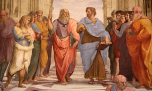 The School of Athens, detail of a mural in the Vatican Museum by Raphael, painted for Pope Julius III.