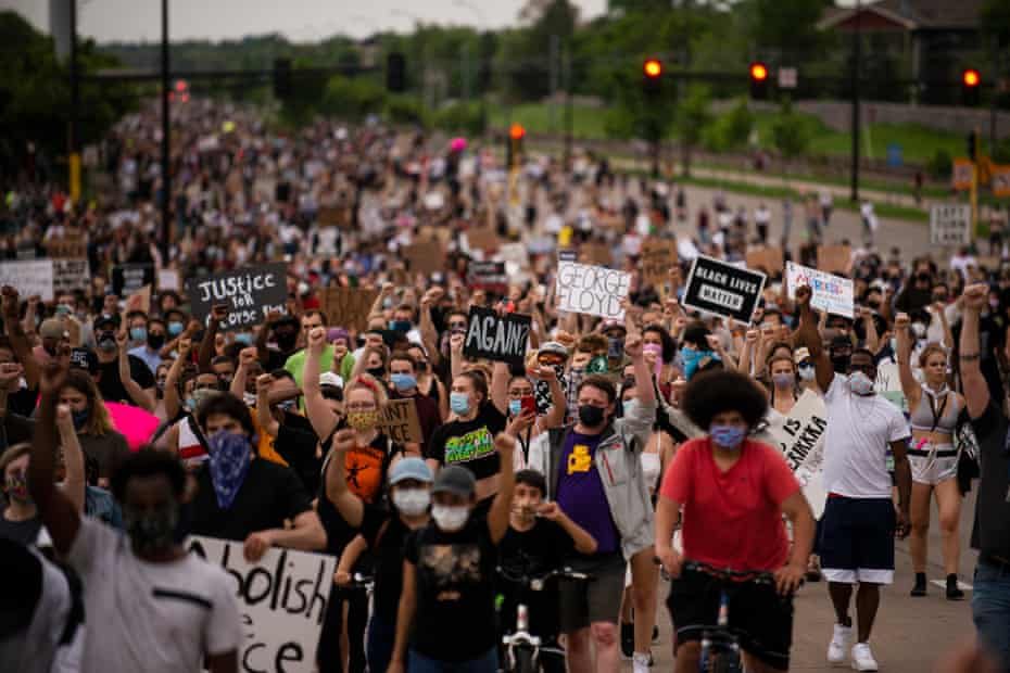 Protesters march after the murder of George Floyd in Minneapolis, Minnesota.