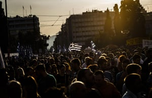 Supporters of the NO vote in the upcoming referendum, gather during rally at Syntagma square in Athens on Monday, June 29, 2015. Anxious Greek pensioners swarmed closed bank branches and long lines snaked outside ATMs as Greeks endured the first day of serious controls on their daily economic lives ahead of a July 5 referendum that could determine whether the country has to ditch the euro currency and return to the drachma. (AP Photo/Daniel Ochoa de Olza)