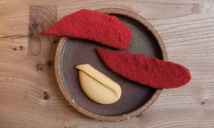 Plantain with raspberry dust and scotch bonnet dip.