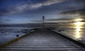 sunset over the pier at Lytham St Annes, Lancashire.