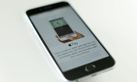 An Apple iPhone 6 with Apple Pay is shown.