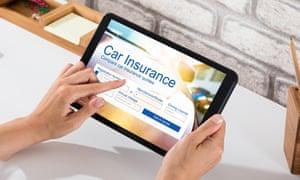 A Car Insurance Form On a Digital Tablet.
