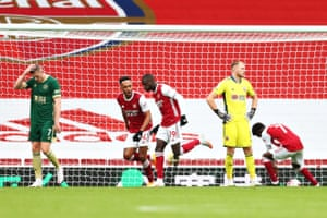 Nicolas Pepe of Arsenal scores his sides second goal