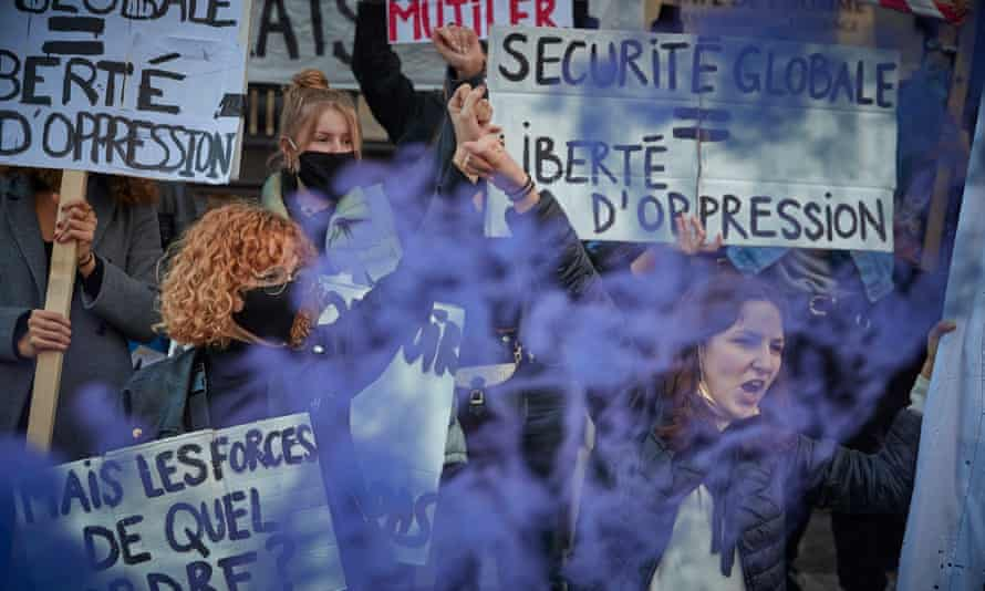 Protestors demonstrate against the French government's newly passed Global Security law bill at Place du Trocadéro on 21 November 2020 in Paris, France.