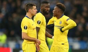 Callum Hudson-Odoi complains to César Azpilicueta about monkey chants by Dynamo Kiev supporters during Chelsea's Europa League match last week.