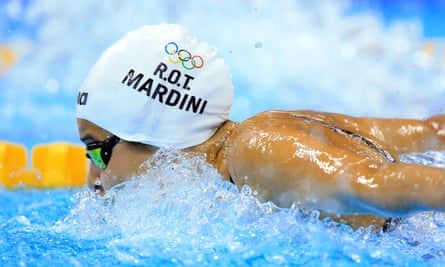 Yusra Mardini competes in the Women's 100m Butterfly Heats on the first day of the Rio Games at the Olympic Aquatics Stadium on 6 August in Brazil.