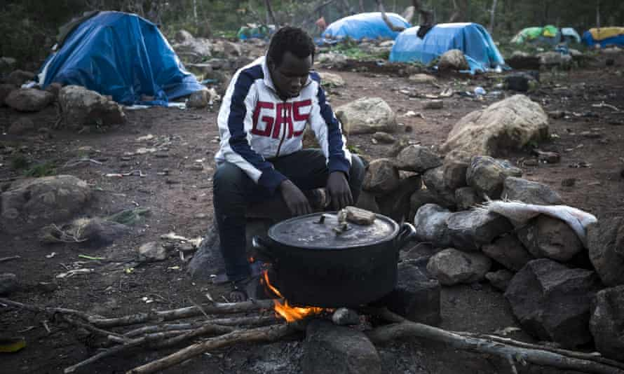 A Guinean at a clandestine camp on Mount Gurugu, Morocco, in 2014.