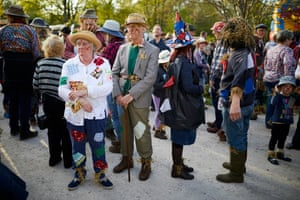 Villagers gather in their costumes