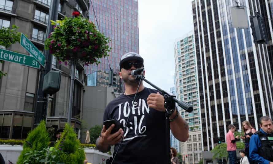 Joey Gibson, wearing his John 3:16 shirt. 'Gun-free zones disgust me because we're not protecting the kids on the campus. People look at it backwards.'