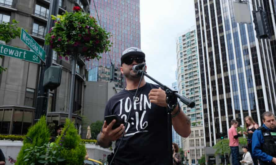 Joey Gibson, the leader of Patriot Prayer. The Portland police bureau has regularly been accused of bias in favour of the group.