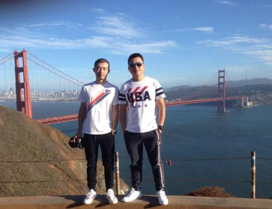 Li, left, and Xu in San Francisco during one of their trips, 2015.
