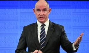 Australia's government services minister Stuart Robert speaks at the National Press Club