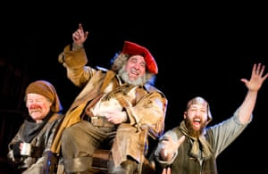 Joshua Richards, Antony Sher (Sir John Falstaff) and Youssef Kerkour in Henry lV Parts l & ll at the Royal Shakespeare theatre, directed by Gregory Doran, 2014