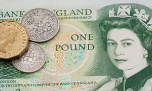 An old Bank of England £1 note, with some pre-decimal coins thrown in for good measure.