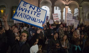 People protest against Donald Trump's appointment of the former Breitbart News head Steve Bannon as his chief strategist