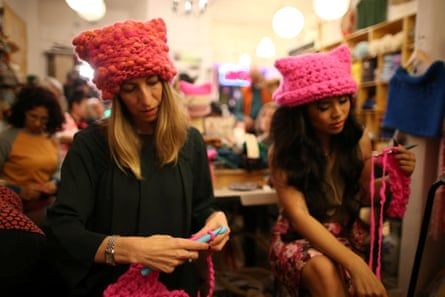 The Pussyhat social media campaign made pink hats for protesters on the women's march in Washington, the day after the presidential inauguration in 2017.
