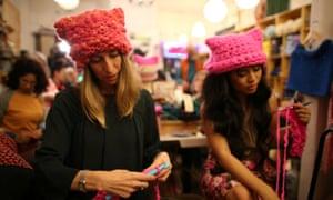 Jayna Zweiman and Krista Suh knitting