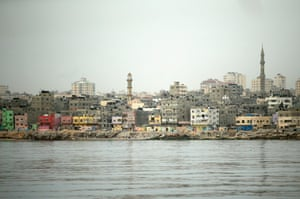 A view of Gaza city from the deck of a fishing boat