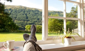 Feet up on windowsill with a cup of tea, Dhanakosa Buddhist Retreat Centre,