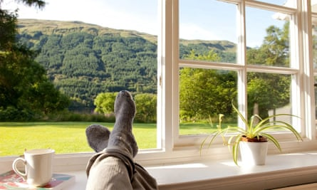 Feet up on windowsill with a cup of tea, Dhanakosa Buddhist Retreat Centre,