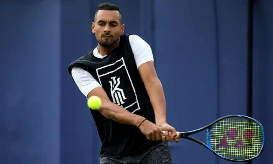 Nick Kyrgios during practice at Queens Club. He faces France's Adrian Mannarino on Tuesday.