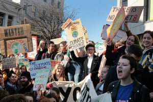 Students and school pupils take part in protests in Brighton