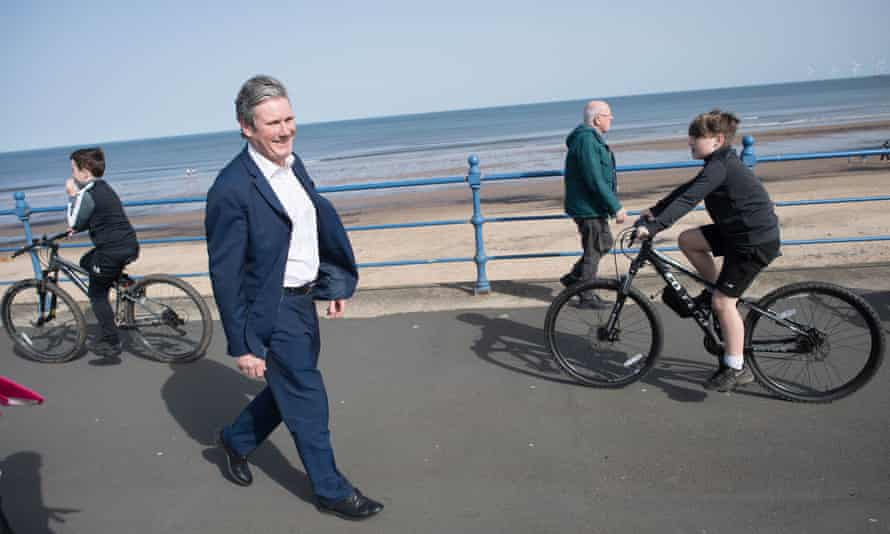 Keir Starmer campaigning for the Hartlepool byelection in Seaton Carew, County Durham, March 2021