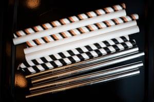 Paper, compostable and metal straws for boba tea.