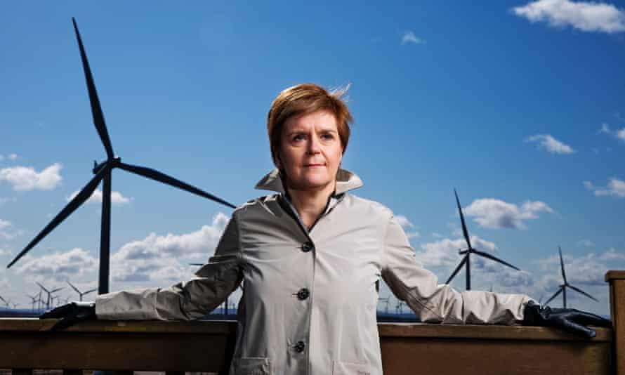 Nicola Sturgeon poses at a windfarm in Scotland