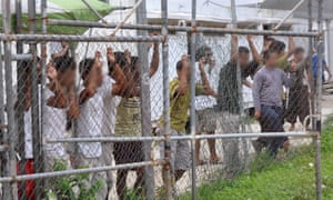 Asylum seekers in Oscar compound at the Manus Island detention centre in Papua New Guinea