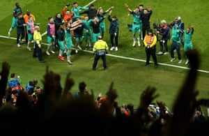 Jubilant scenes in the away end as Spurs celebrate after the game.