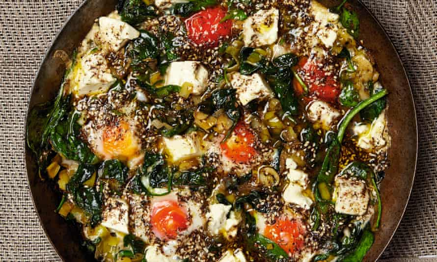 Photograph of Yotam Ottolenghi's braised eggs with leek and za'atar