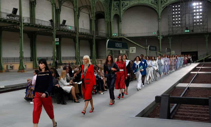 Models on the catwalk for Chanel