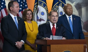 Democrats Adam Schiff, Speaker of the House Nancy Pelosi, Jerrold Nadler, and Elijah Cummings, at a news conference after Robert Mueller's testimony on 24 July.