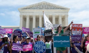 Abortion rights activists protest the recent state bans at the US Supreme Court.