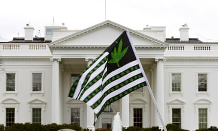 Marijuana protestA demonstrator waves a flag with marijuana leaves on it during a protest calling for the legalization of marijuana outside of the White House, in Washington, Saturday, April 2, 2016. During the rally protesters demanded President Obama use his authority to stop marijuana arrests and pardon offenders. ( AP Photo/Jose Luis Magana)