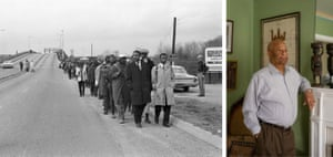 Left: A long line of marchers, led by John Lewis, right, and the Rev Hosea Williams, cross the Alabama river in Selma. Right: Charles Mauldin, now 73, took part in the Selma march.
