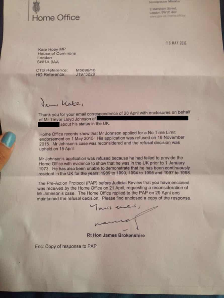 The letter send by James Brokenshire to Kate Hoey